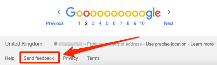 send feedback google