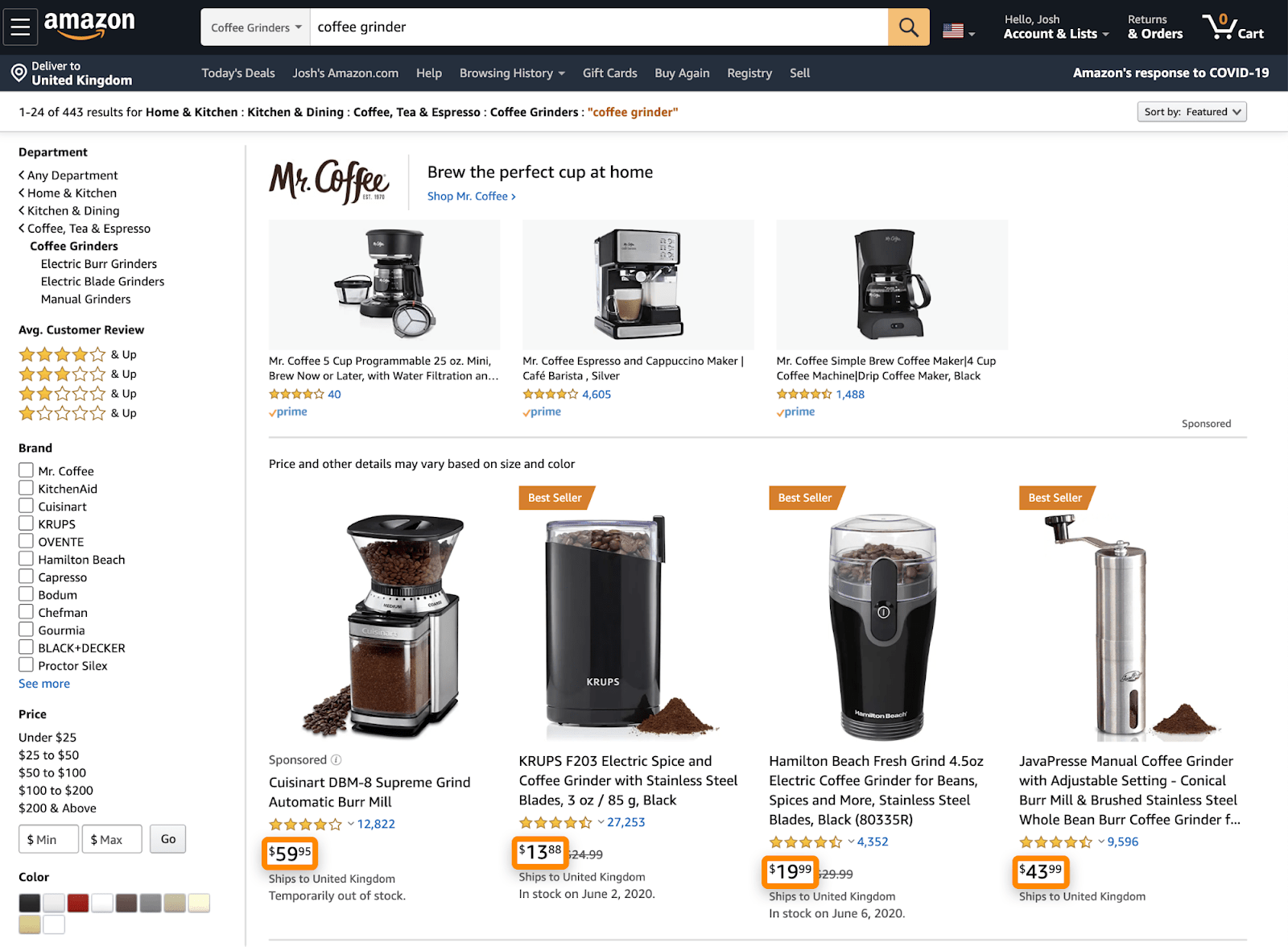 7 amazon product prices