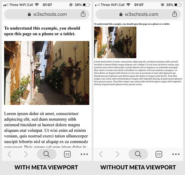 meta viewport with without