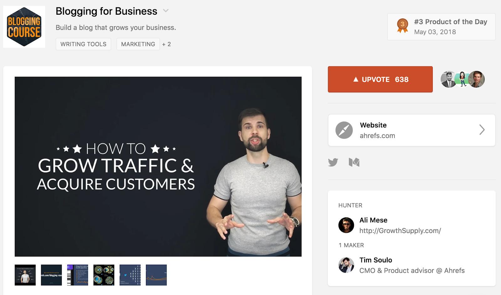 product hunt blogging for business