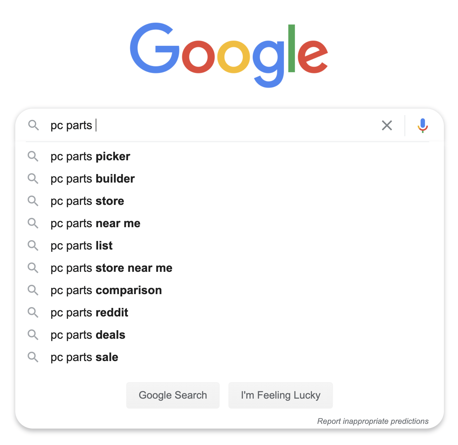 10 autocomplete results