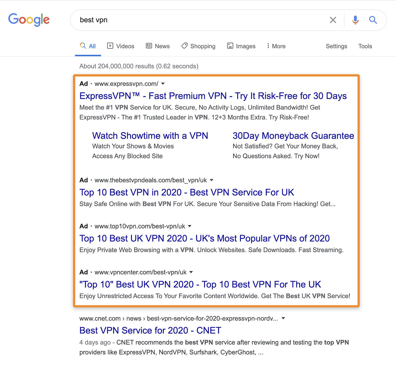 4 best vpn serp ads