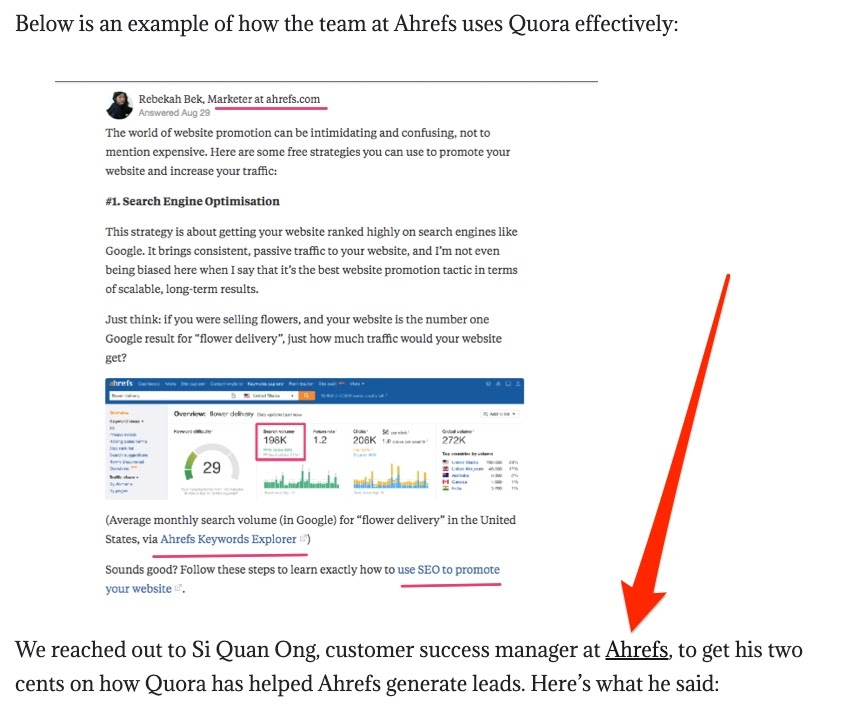 linking page quora