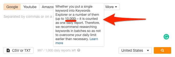 keywords explorer - ограничение количества кивордов