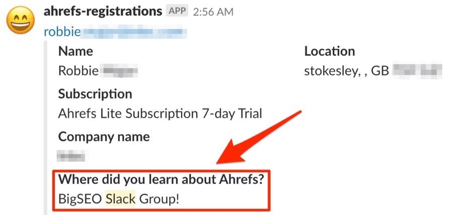 Ahrefs Registrations - лиды