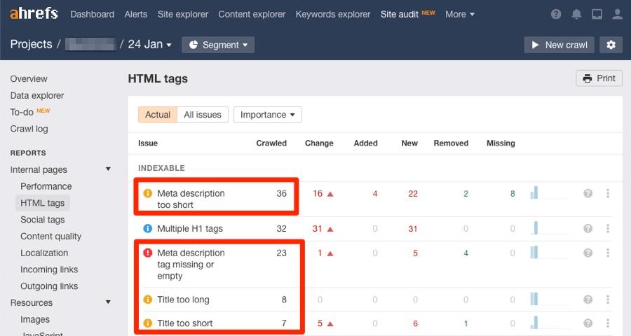 HTML теги в Site Audit
