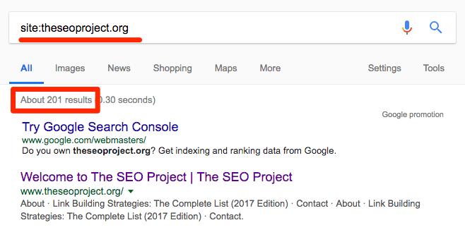 Проверка количества проиндексированных страниц в Google