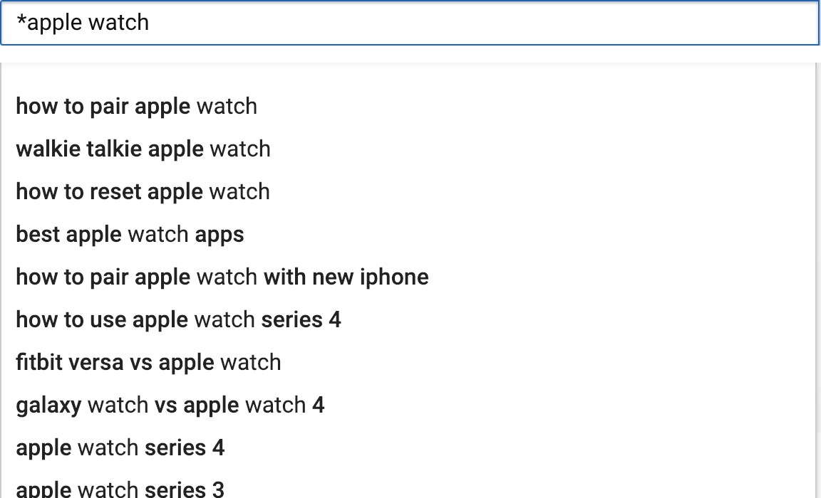 youtube suggest with asterisk