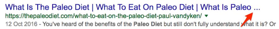 paleo diet title tag truncation
