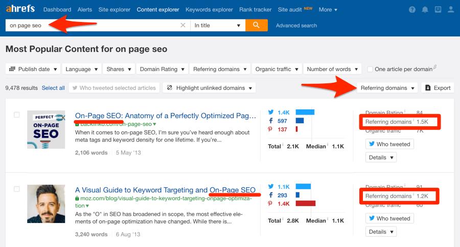 referring domains content explorer