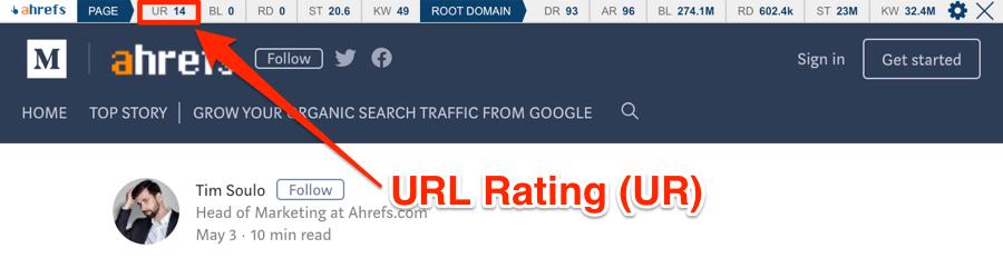url rating ahrefs toolbar
