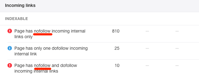 site audit internal link error