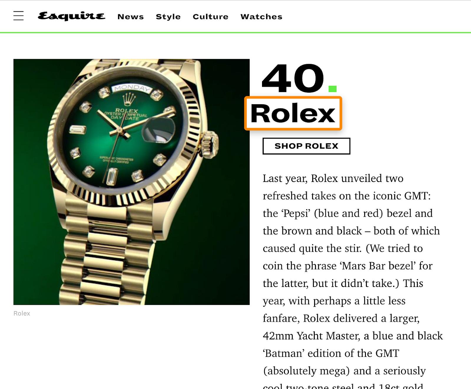 18 rolex brand