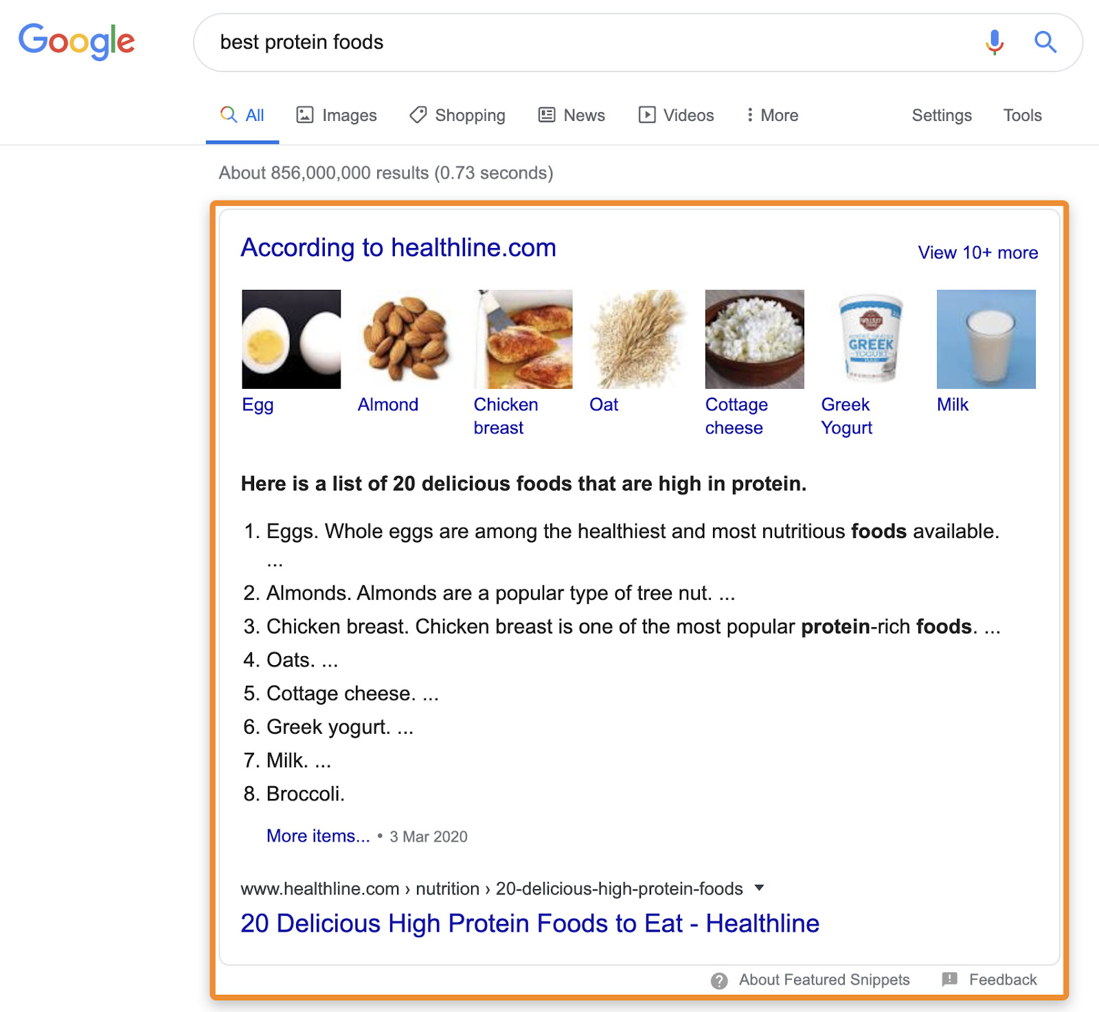 8 featured snippet