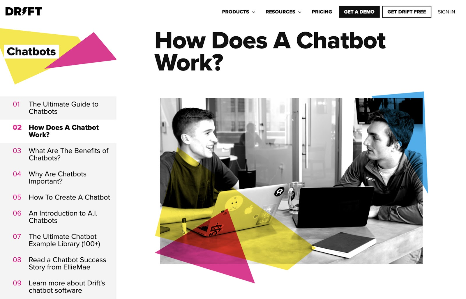 draft how does a chatbot work subpage