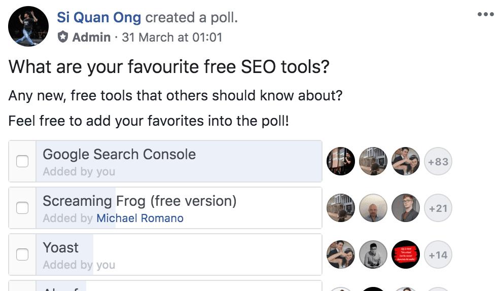 facebook seo tools poll 2