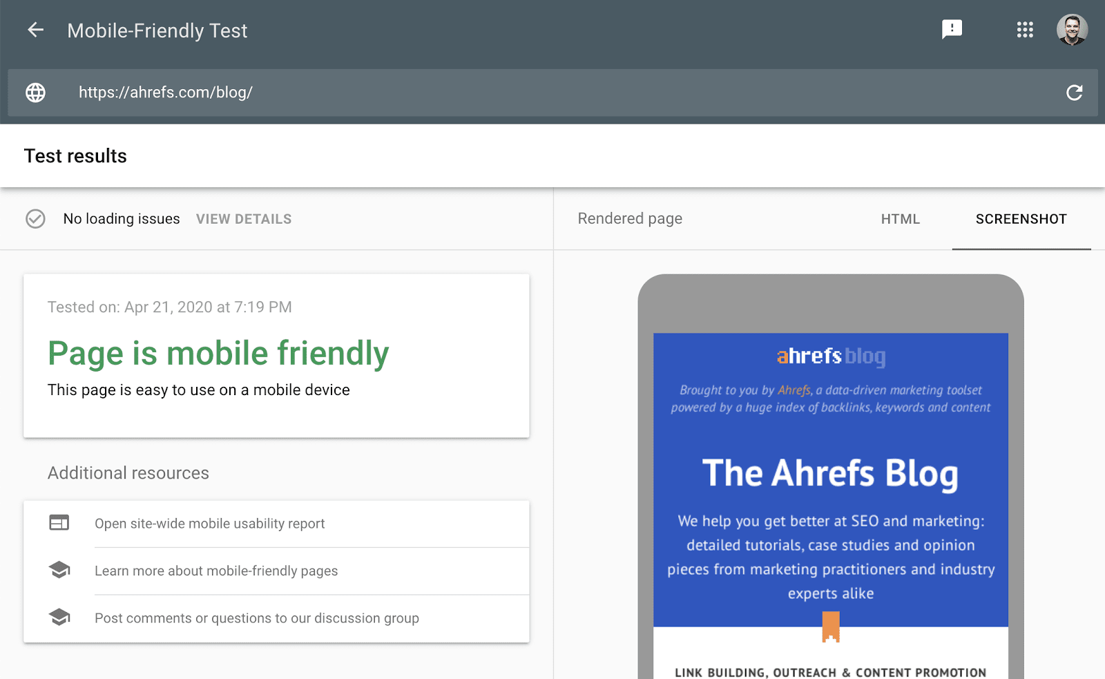 mobile friendly test tool 1