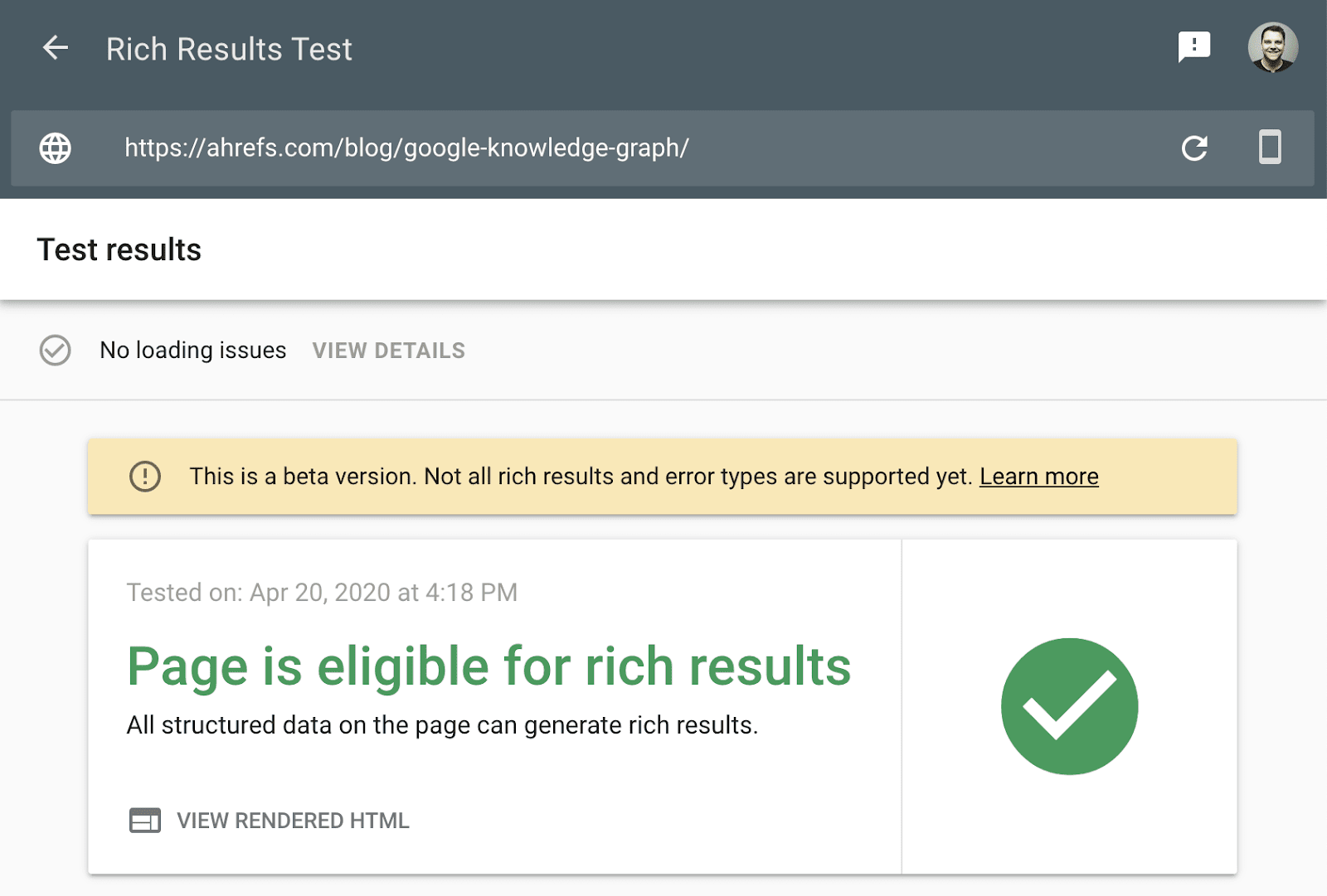 rich results test 3