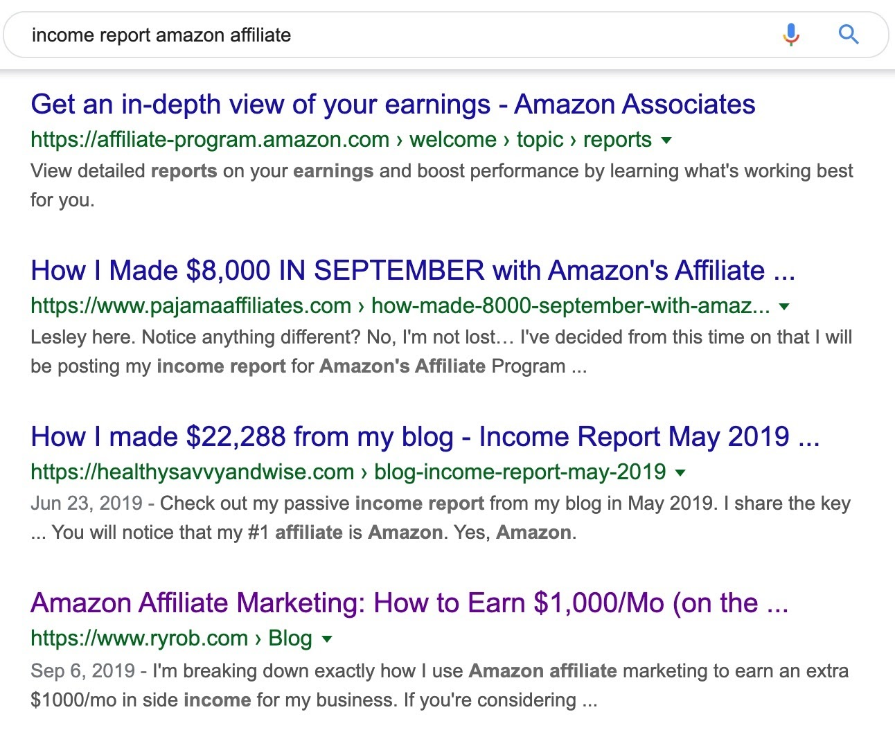 income report amazon affiliate Google Search 2