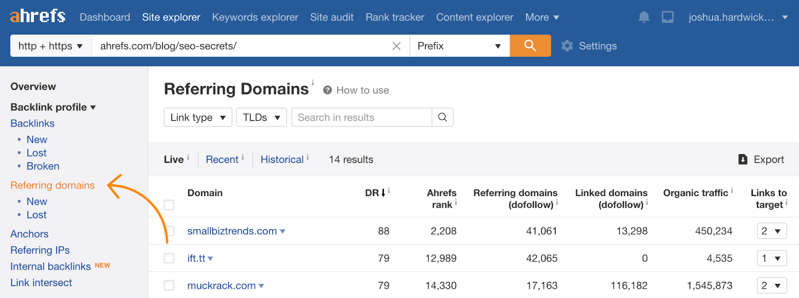 8 referring domains ahrefs