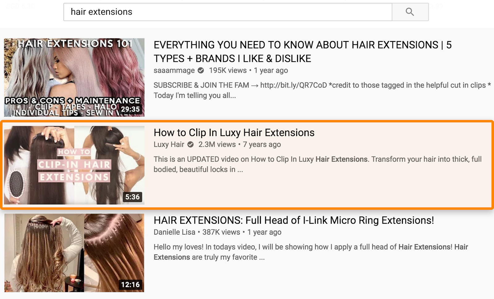 6 youtube search results