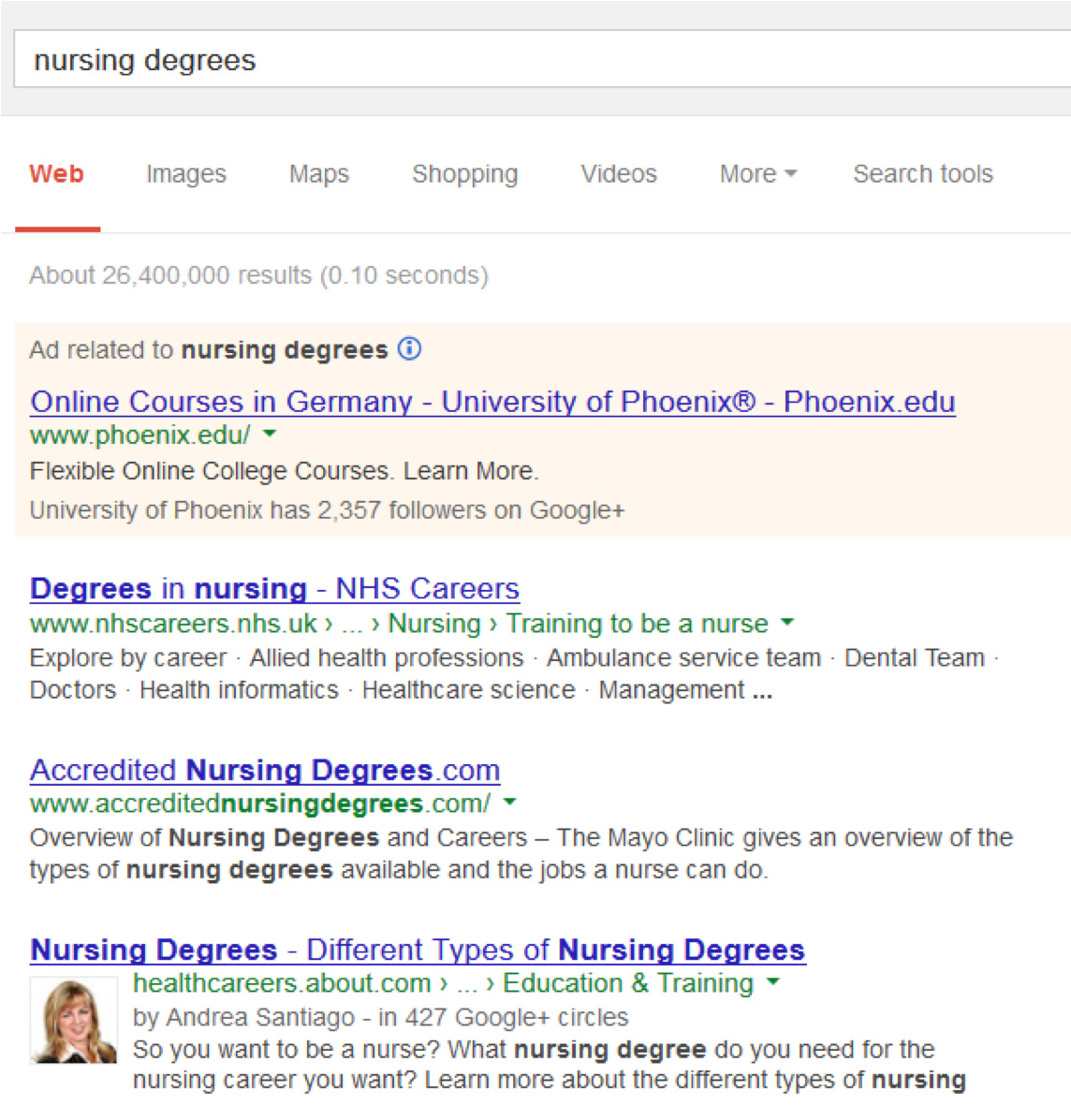 "Query "" nursing degrees"""