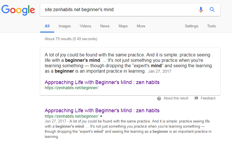 beginners mind search results