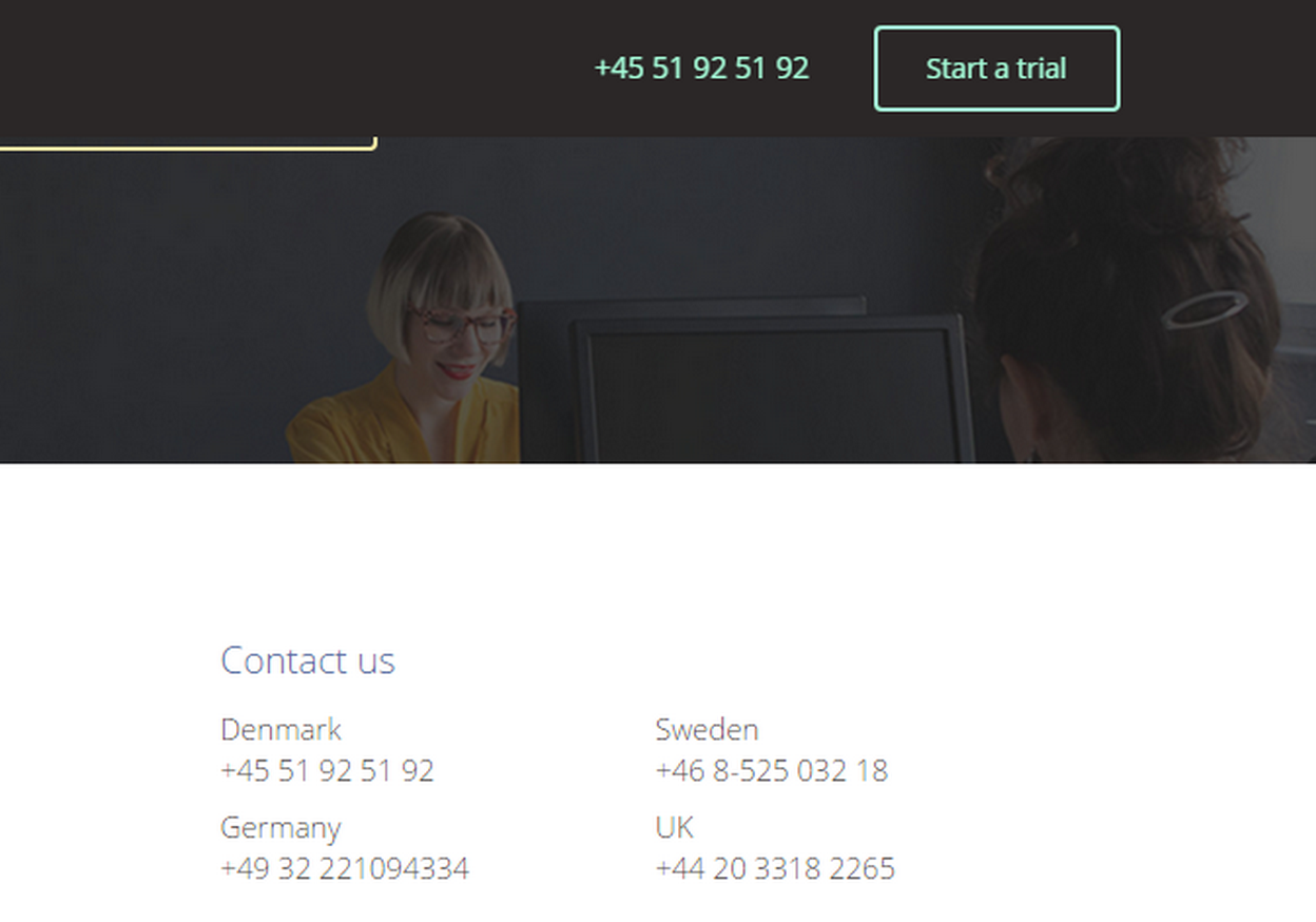 Pipetop, a Danish startup, harnessed their inner pufferfish by buying several phone numbers and displaying them on their homepage.