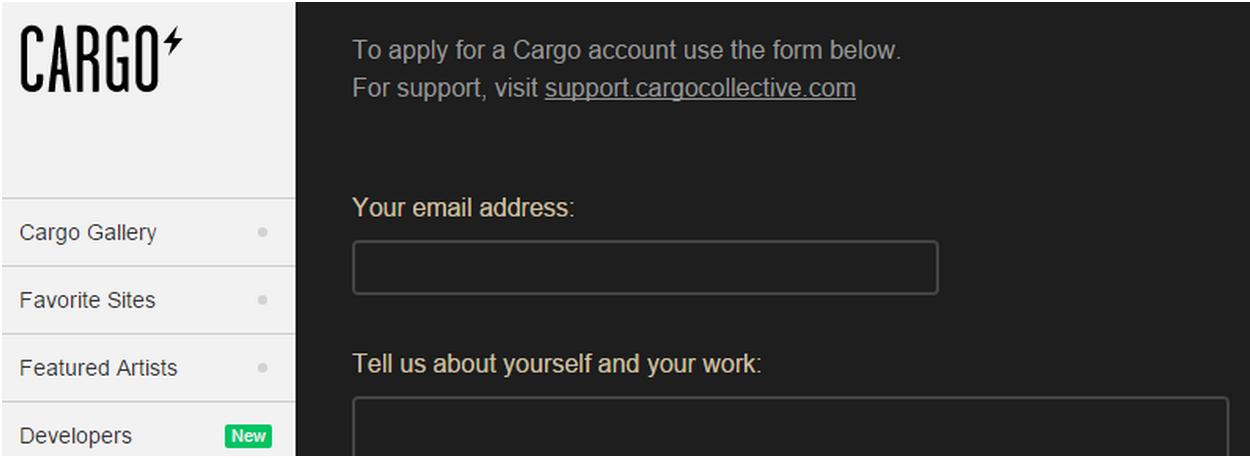 CargoCollective, nền tảng xây dựng danh mục đầu tư cho các nghệ sĩ trực quan, yêu cầu người dùng đăng ký quyền truy cập.