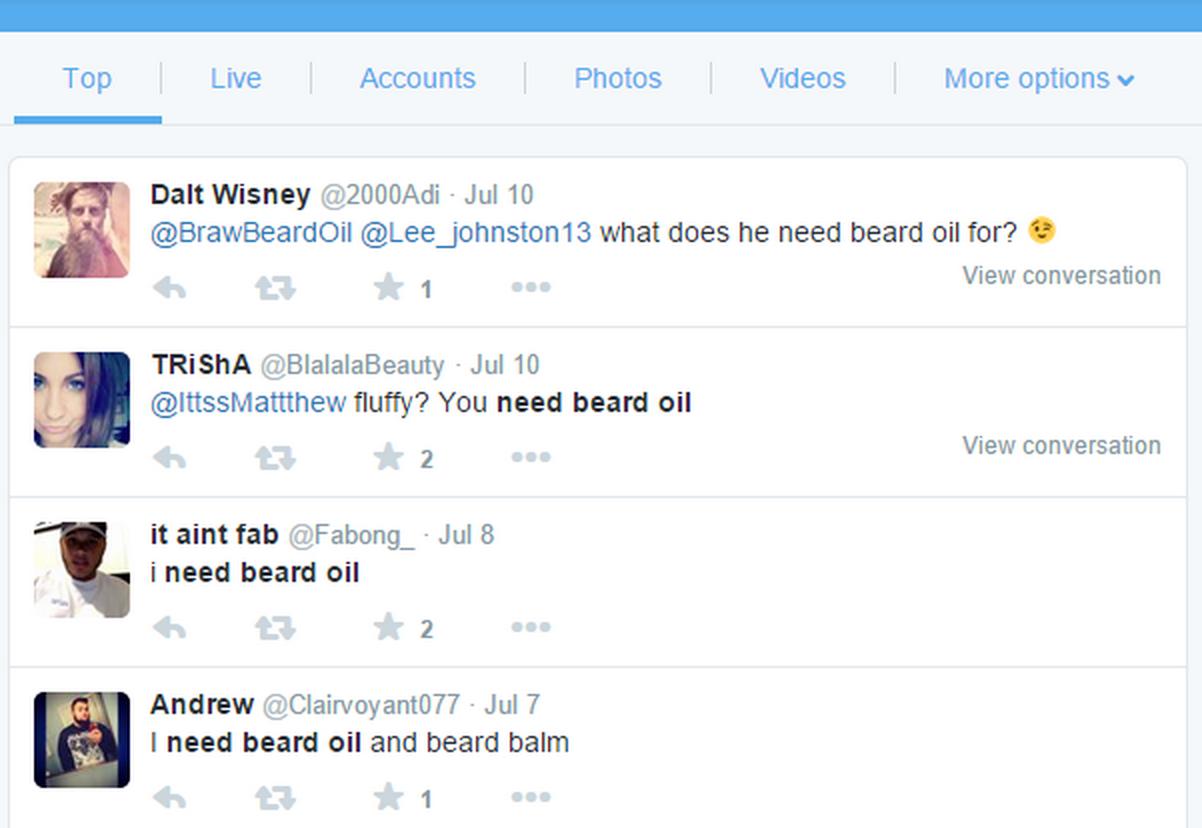 Bản hack của Allred giúp nhắm mục tiêu đến những người đang tìm mua dầu dưỡng râu và nó đơn giản đến mức nực cười.  Chỉ cần tìm kiếm một cái gì đó như