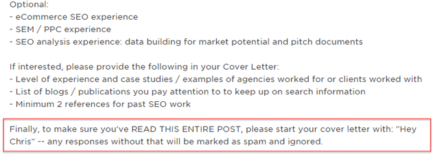 Cover Letter Anti Spam