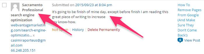 评论垃圾邮件