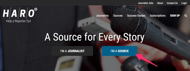 sign up to HARO as a source
