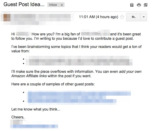 guest post cold pitch email