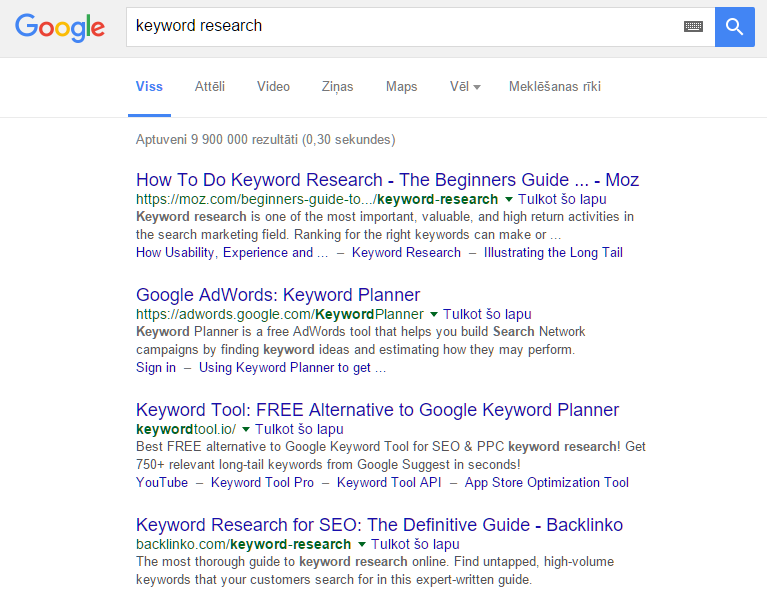 google search for keyword research