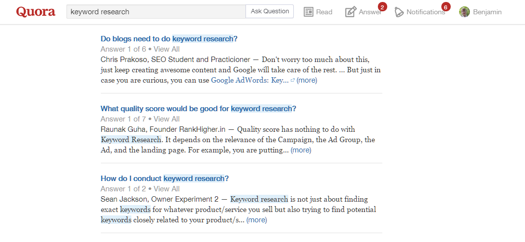 results for keyword research on quora