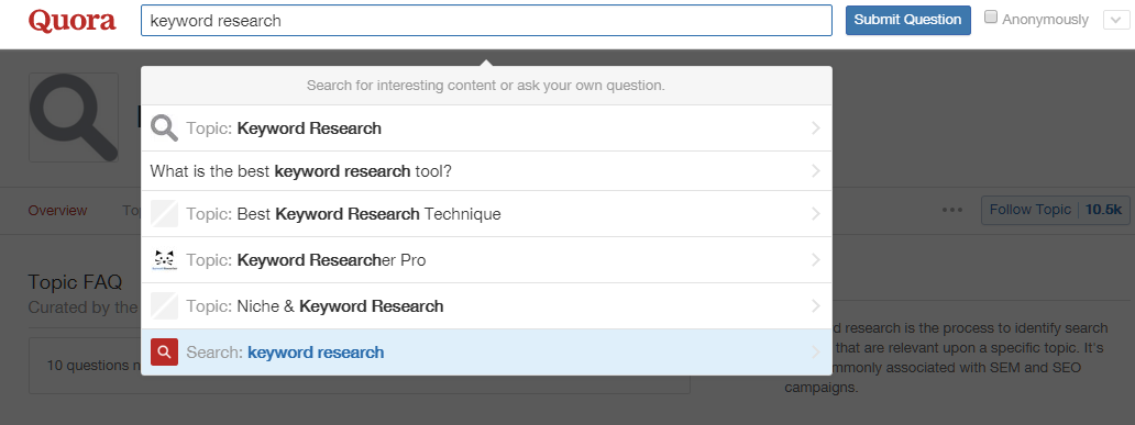 using quora for keyword research