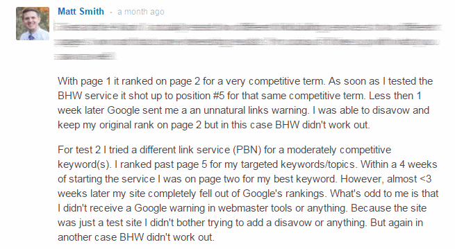 black hat link building - negative review