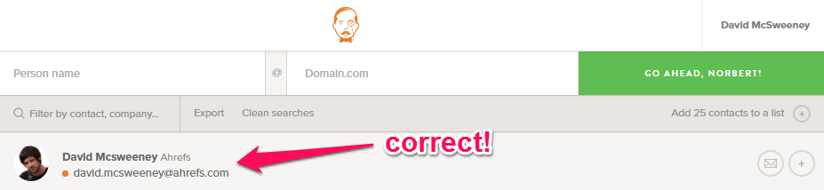 how to get someones an email address free voilanorbert