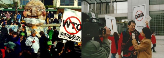 On the right, radicals protesting the old order. On the left, a demonstration against the World Trade Organization. Seattle was crazy in '99.