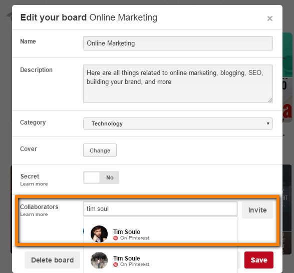 how to get acces to group boards on pinterest