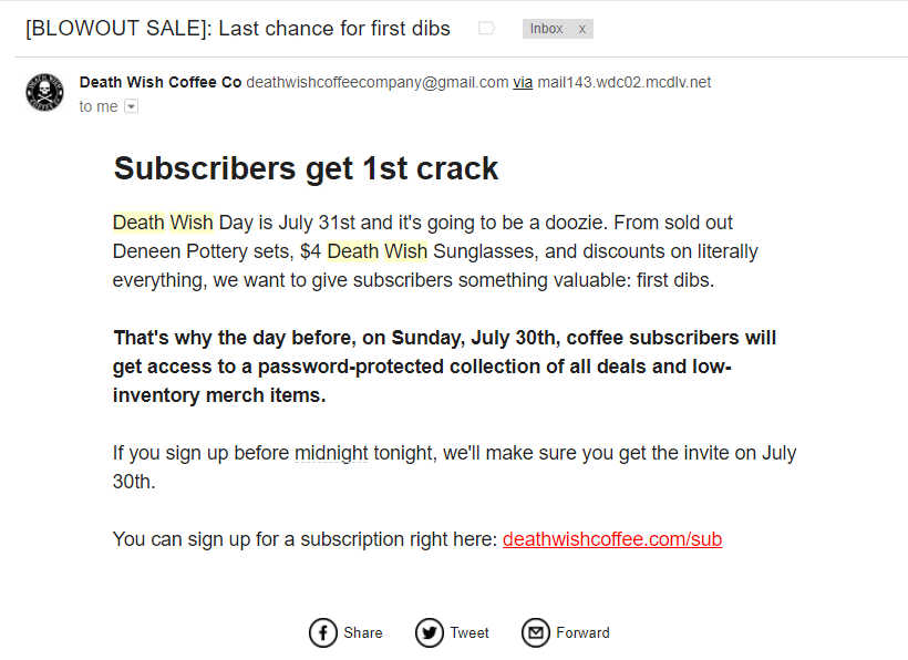 Deathwish Coffee Email Marketing