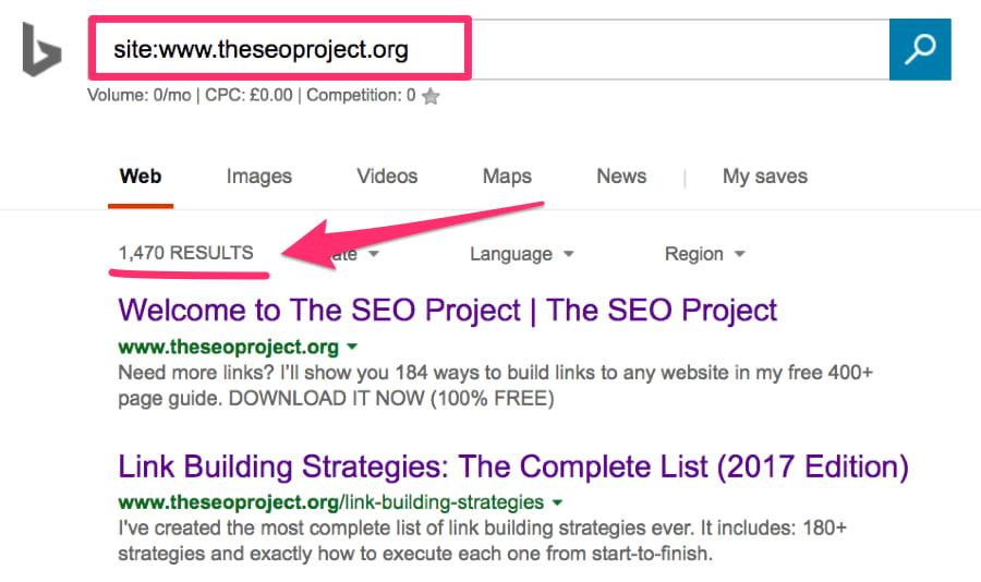 site search operator bing