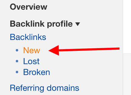 New links panel in Ahrefs
