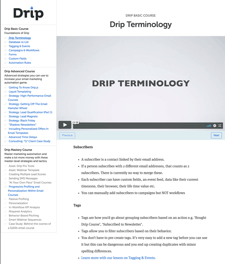Drip Terminology