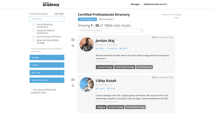 Hootsuite Certified Professionals Directory