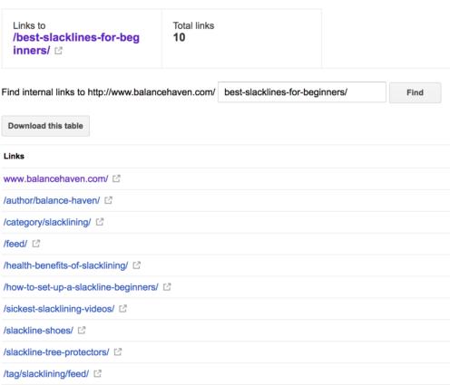 GSC Internal Links For Slackline Article