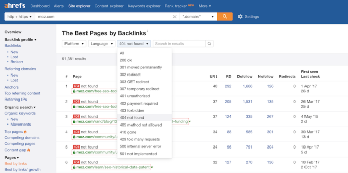 Ahrefs 404 Pages