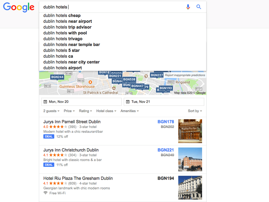 Dublin hotels autocomplete feature