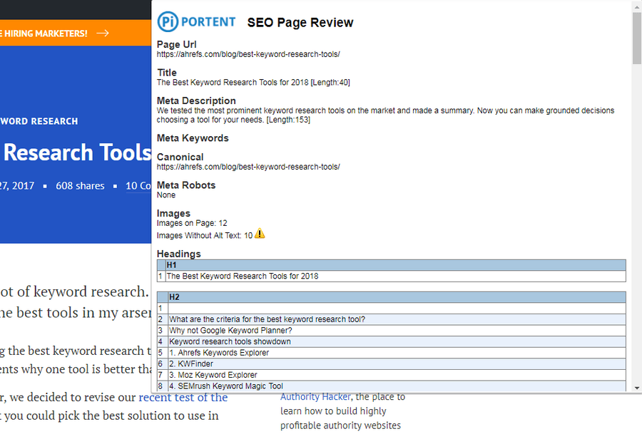 Portents SEO Page Review